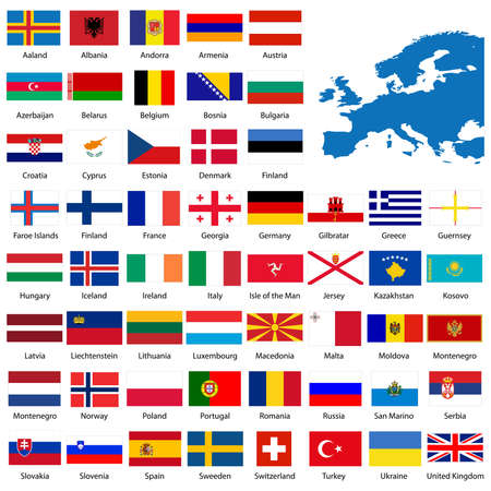 Detailed European flags and map manually traced from public domain map Vector