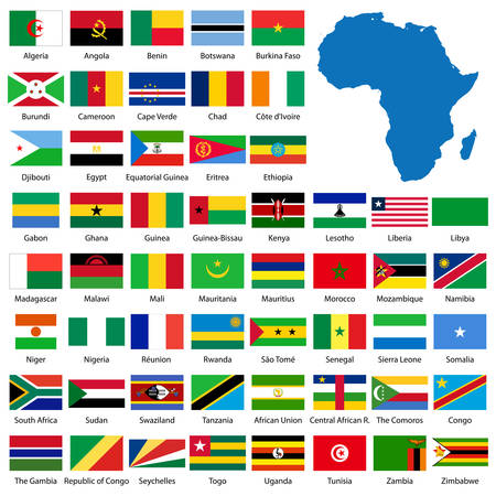 manually: Detailed African flags and map manually traced from public domain map Illustration