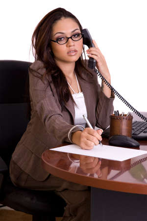 Administrative assistant on the phone on pure white background Imagens
