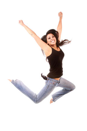 You multi-ethnic woman happy and jumping on pure white background 写真素材