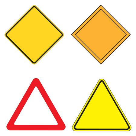 se�ales de seguridad: Conjunto de 4 se�al de advertencia ilustraci�n vectorial  Vectores
