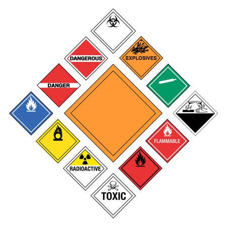 Conjunto de los principales signos peligrosos  Ilustración de vector