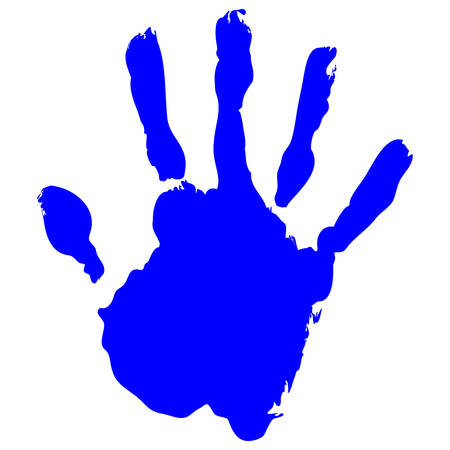 5 people: Blue Handprint Vector on pure white background