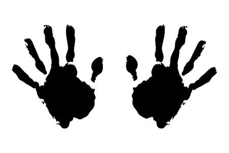 hand print: Black hand prints on pure white background Stock Photo