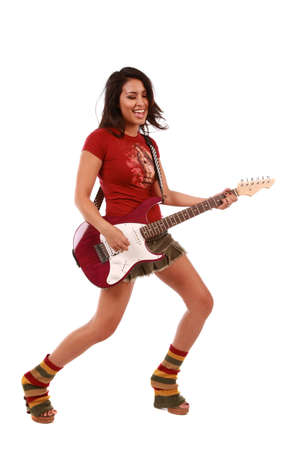 hair band: Beautiful sexy woman playing guitar on pure white background