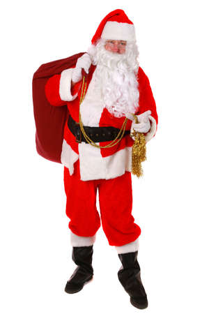 christmas costume: Santa Claus standing up on white background