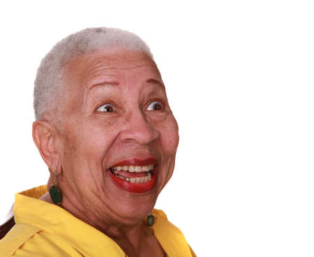 African american woman laughing on pure white background Stok Fotoğraf