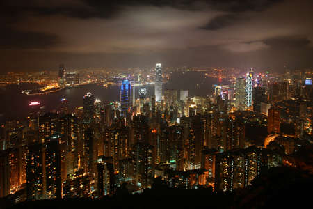 Hong Kong Skyline at night from Victoria Peak Stok Fotoğraf