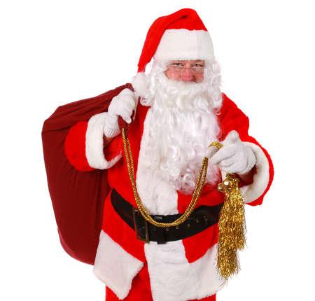 Santa Claus pointing finger Stok Fotoğraf