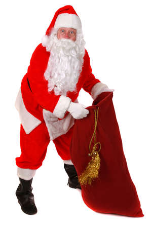Santa Claus standing up on white background photo