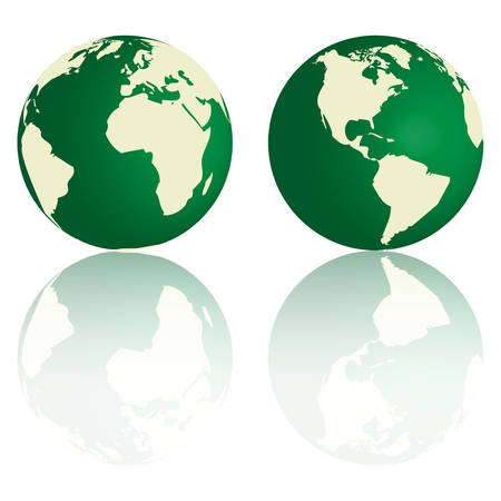 Green Earth with reflection Vector