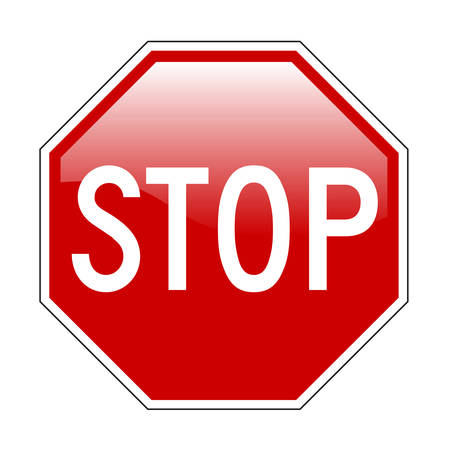 sign: Vector illustration of Stop sign isolated on pure white with glossy effect