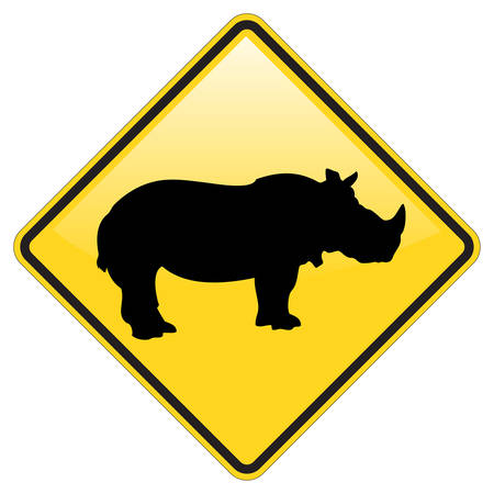 rhinoc�ros: Rhino Warning Sign Avec Effet Brillant Illustration
