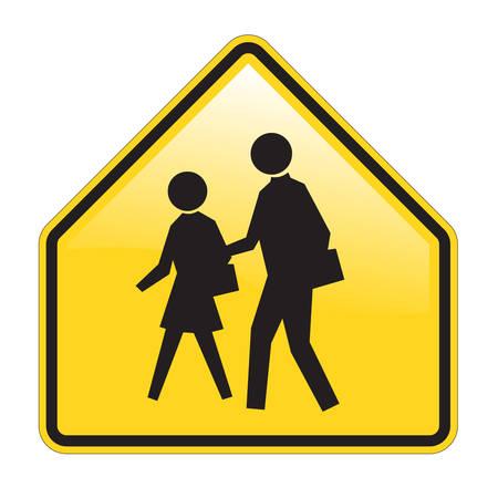 transport scolaire: �cole Warning Sign avec effet brillant Illustration