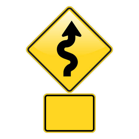 road warning sign: Zig Zag Carretera se�al de advertencia con efecto brillante