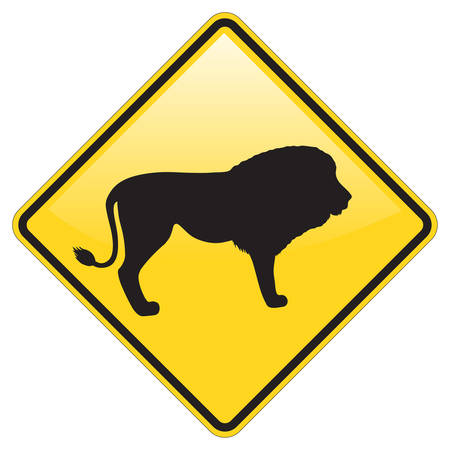 Lion Warning sign with glossy effect Stock Vector - 4588913