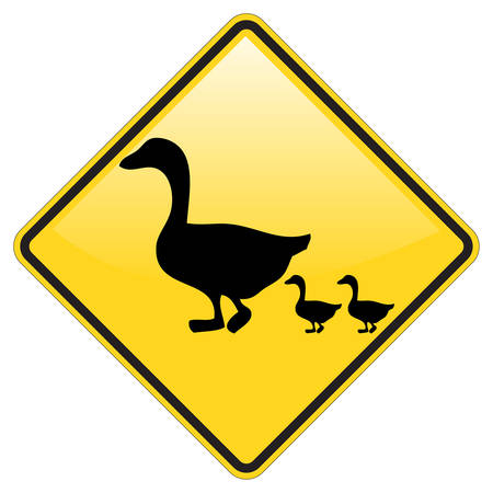 yellow duck: Duck crossing warning sign with glossy effect