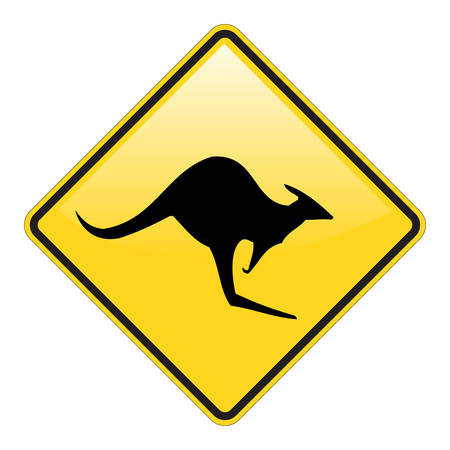 Kangaroo warning sign with glossy effect  イラスト・ベクター素材