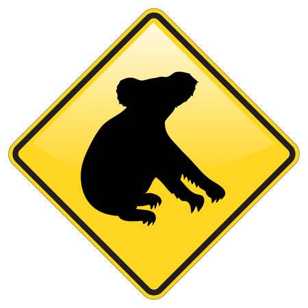 Koala señal de advertencia con efecto brillante