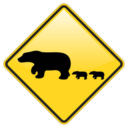 baby bear: Bear Crossing Warning Sign with Glossy effect