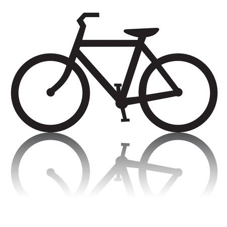 Bicycle with Reflection Illustration
