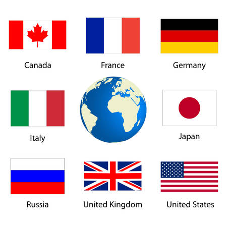 Flags of countries member of the G8  Çizim