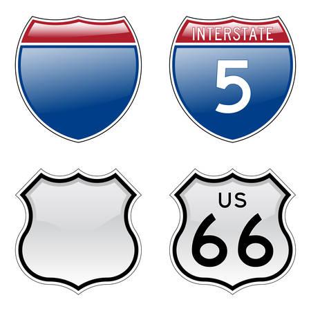 autopista: Interestatal EE.UU. y se�ales de la Ruta 66 con efecto brillante