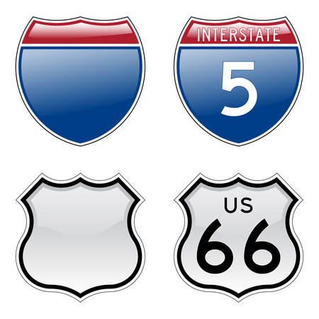 Interstate and US Route 66 signs with glossy effect Vector