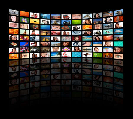 HD TVs showing movies - All used images are in my portfolio Stock Photo - 4612836