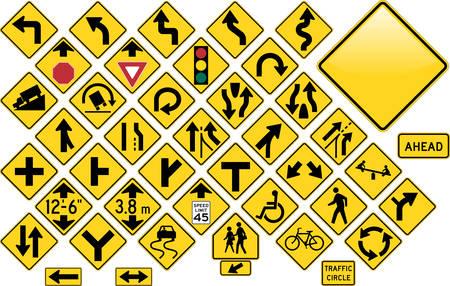 도로 표지판 세트 - 경고