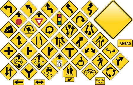 Road Sign Set - Warning Vector