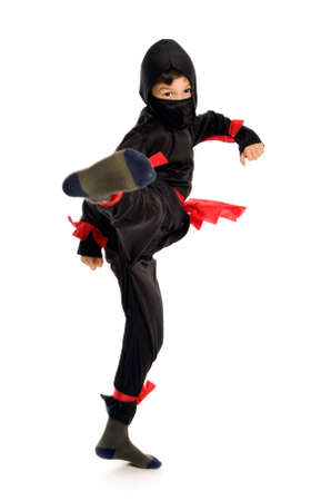 Young Ninja on pure white background photo