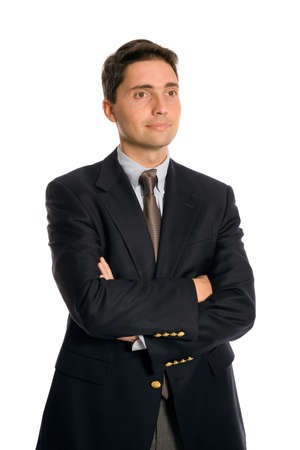 Young executive on pure white background