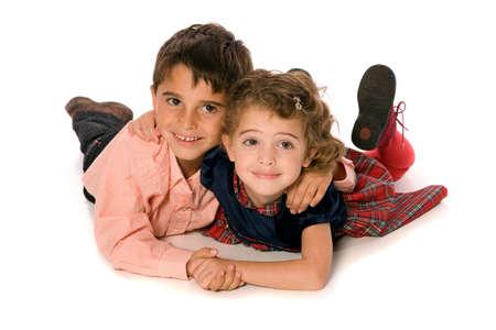 兄と妹の純粋な白い背景の上 写真素材