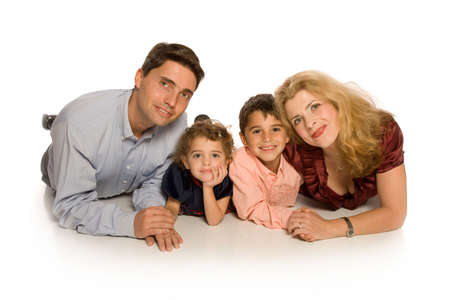 Familiy portrait on white background Stock Photo - 5791618