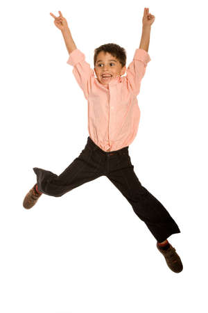Young kid jumping on pure white background Stock Photo - 5791499