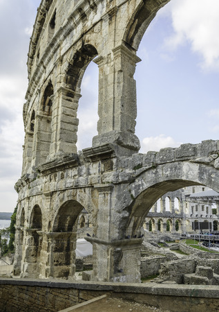 Arch of the Arena in the city of Pula, Croatia