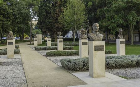 Titov park with the bust of Tito , and other personality Stock Photo