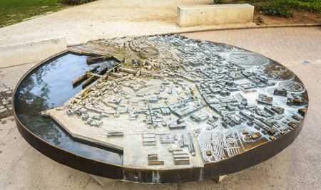 A fountain with the Form of a Miniature model of the old town ot Pula, Croatia