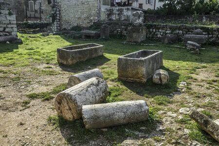 Ruins in Porec, of the Temple of Neptune, Croatia Stock Photo