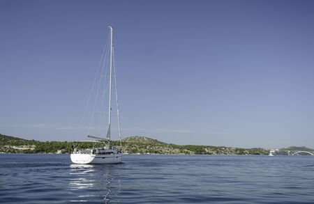 Panoramic view in the Sibenik bay with sailing Ship Stok Fotoğraf - 91361042