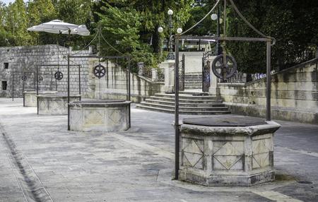 the Square of te fives Wells in the city of Zadar , Croatia 版權商用圖片