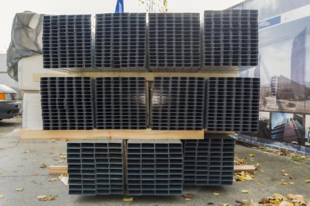 Pile of steel track for plasterboard framing
