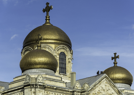The Dormition of the Mother of God Cathedral in Varna, Bulgaria , close up of the roof, rule of odds. place for text