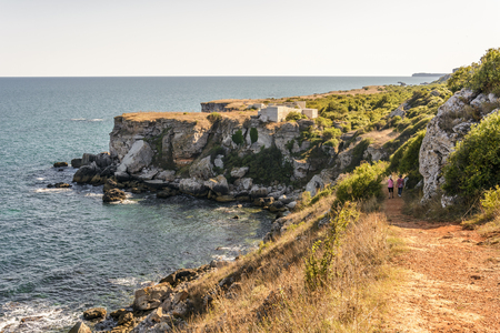 Landscape in the Yailata reserve, with ancient fortress, cliff and waves. Stock Photo