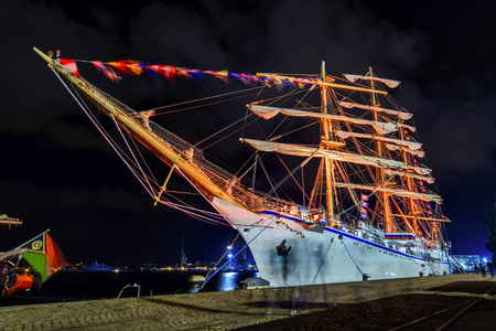 Sailling ship  by night, Illumination on Sailing ship in the seaport of Varna, Bulgaria