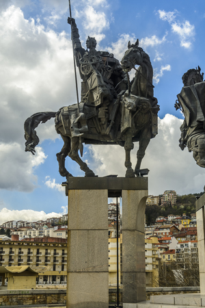 Ivan asen the second, one of the fourth Tsar in the Asenevtsi monument in Veliko Tarnovo, Bulgaria Stock Photo