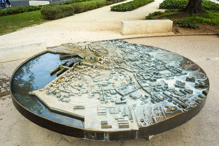 PULA, CROATIA, SEPTEMBER 27, 2017: Fountain with Miniature Plan of Pula. This map is at the entrance of the town, Guiding the tourist in the famous location Editorial