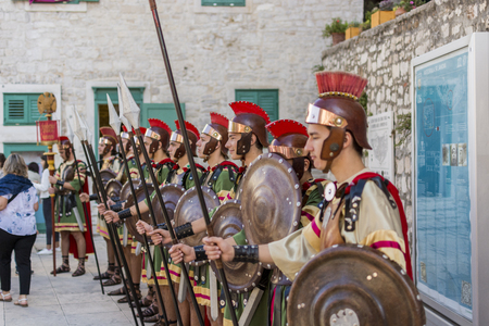 SIBENIK, CROATIA, SEPTEMBER 29, 2017: Tourist and participant for the the day of the town of Sibenik and its guardian of St. Mihovila held a traditional religious procession.