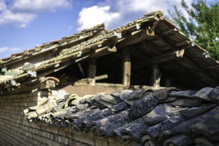 close up of a old tiled roof with broken tile Stok Fotoğraf